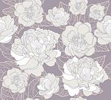 Seamless floral pattern. Background with peonies and cherry blos