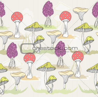 Abstract cute seamless colorful mushroom pattern.