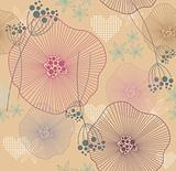 Cute colorful seamless pattern with flowers and hearts.