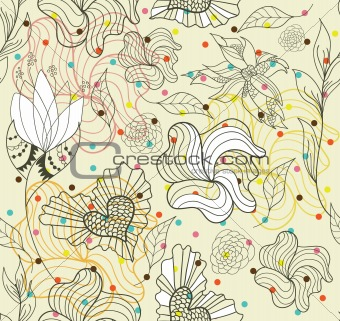 Abstract seamless doodle flowers and hearts pattern with dots