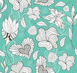 Abstract seamless doodle flowers and hearts pattern