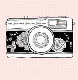 Background with retro camera. Vector illustration. Photo camera 
