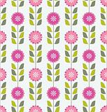 Seamless pink spring or summer flowers pattern