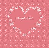 Pink Valentines day card with heart