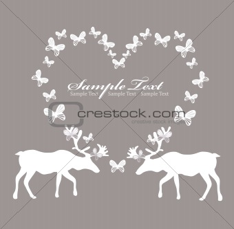 Card with reindeer in love