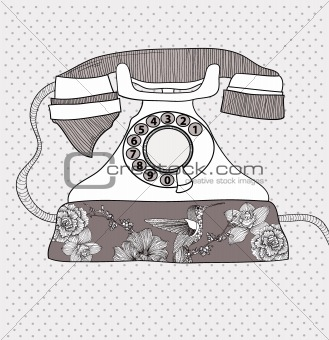 Background with retro telephone. Vector vintage illustration. Te