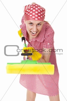 Funny charwoman with mop on white