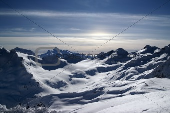 Caucasus Mountains. View from Elbrus in evening.