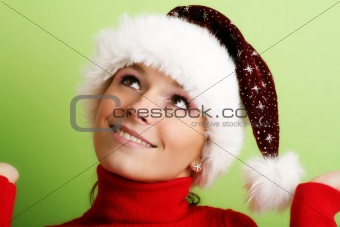 beautiful woman at christmas time