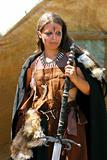 young girl in barbarian costume