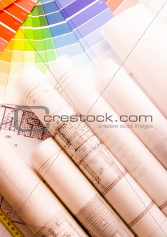 Architecture planning of interiors designe on paper