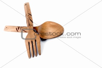 old wooden spoon and fork