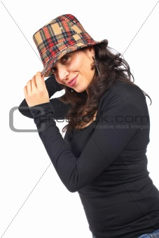 Happy casual woman with hat