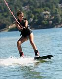 Girl wakeboarding 