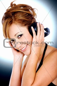 fashion girl listening to music