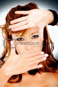 fashion girl framing face