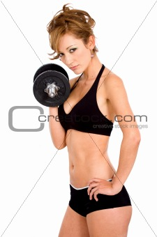 girl doing freeweights