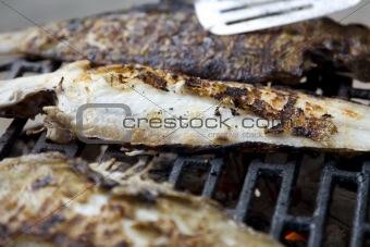 Fishes on grill