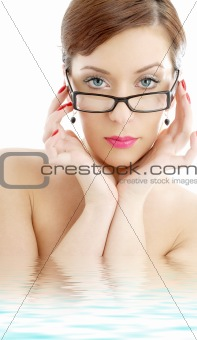 black plastic eyeglasses lady in water