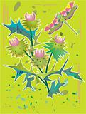 decorative floral pattern with thistle