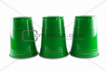 Three Green Party Cups