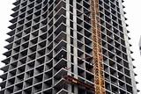 Construction of a tall modern office building