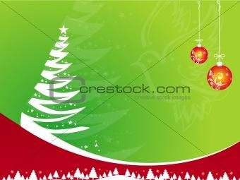 Green Christmas background, vector illustration