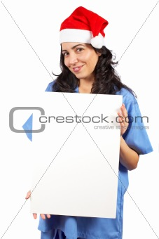 Female doctor holding the banner