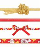 Celebratory and Christmas ribbons with clipping paths
