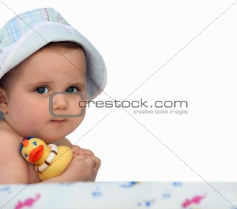 Baby with a rubber duck