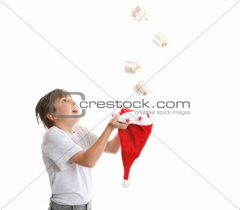 Boy catching falling presents
