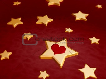 3d golden stars with red heart