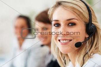 Support operator giving an attractive smile