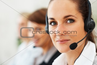Beautiful call center executive