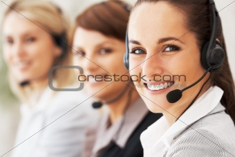 Customer service representative giving a cute smile