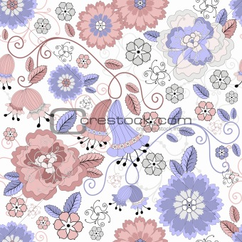 Seamless pastel floral pattern