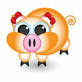 Cartoon pig with bows
