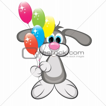 Cartoon rabbit with colorful balloons