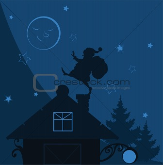 vector illustration Santa Claus on the roof