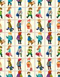 cartoon travel people seamless pattern