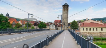Bridge in the medieval half-timbered town