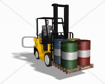 Fork lift loading 4 barrels
