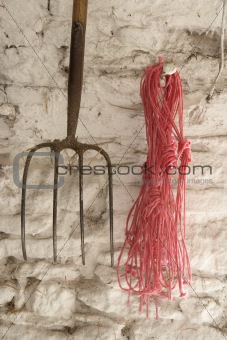 Farm Equipment Hanging On Wall