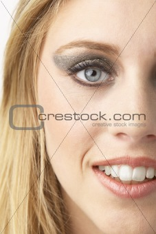 Close Up Of Young Woman Wearing Make Up