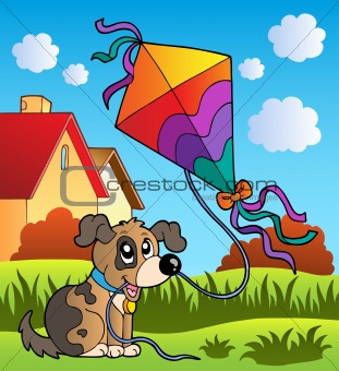 Autumn scene with dog and kite