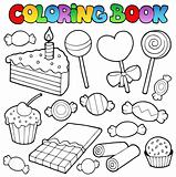 Coloring book candy and cakes