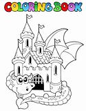 Coloring book castle and big dragon