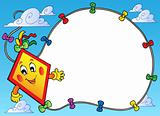 Frame with flying cartoon kite