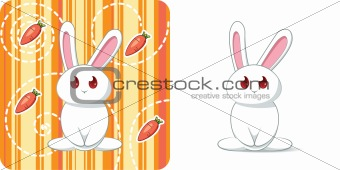 Cute white rabbit with carrots