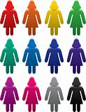 set of colorful female symbols